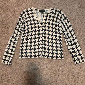 August Silk Geometric Black & Tan Cardigan Size M